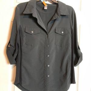 Lucy Walkabout Shirt Button Front 3/4 Sleeve XL
